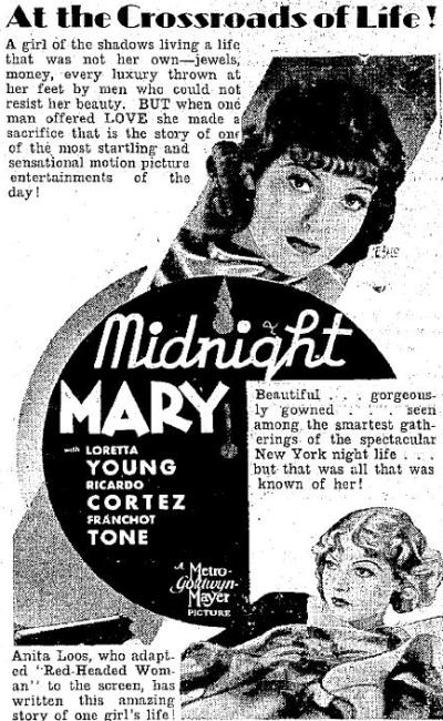 Midnight Mary 1933 advertisement