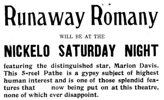Runaway Romany ad for the Middletown News, January 19, 1918, page 6