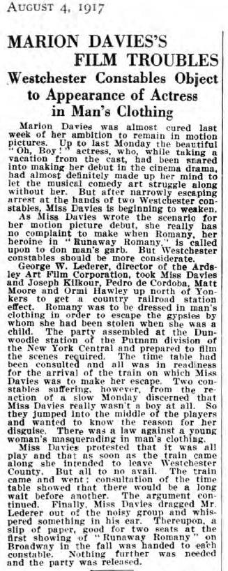 Runaway Romany article in The Dramatic Mirror, August 4, 1917