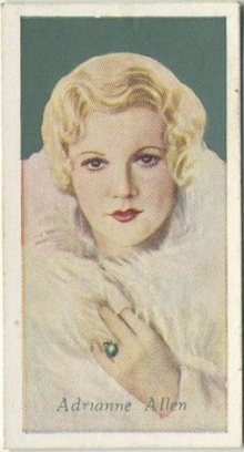 Adrianne Allen 1934 Godfrey Phillips Tobacco Card