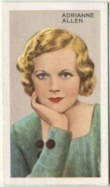 Adrianne Allen 1935 Gallaher Tobacco Card