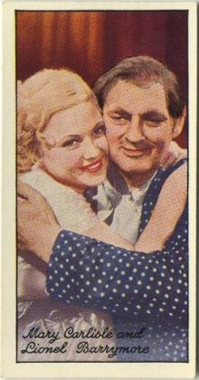 Lionel Barrymore and Mary Carlisle 1935 Carreras Famous Film Stars Tobacco Card