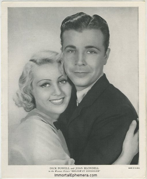 Joan Blondell and Dick Powell 1936 R95 Linen Textured Premium Photo