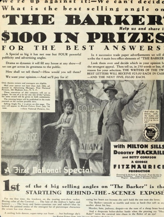 The Barker ad July 8 1928 Film Daily