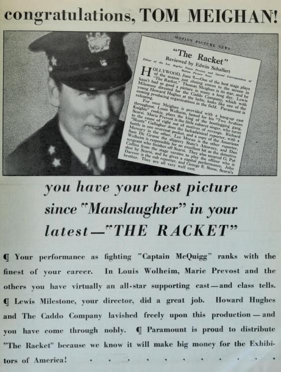 The Racket ad June 27 1928 Film Daily