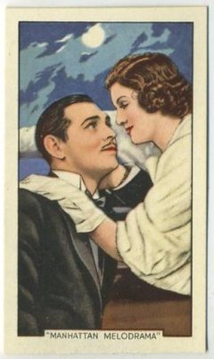 Clark Gable and Myrna Loy 1935 Gallaher Shots from Famous Films Tobacco Card