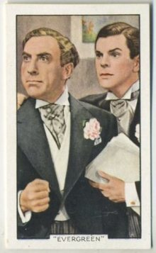 Sonnie Hale and Barry MacKay on a 1935 Gallaher Shots from Famous Films Tobacco Card