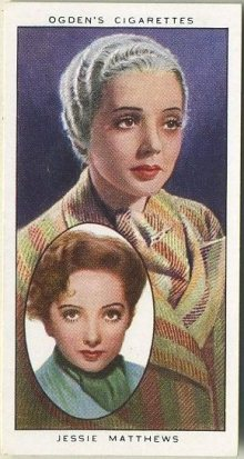Jessie Matthews as herself, inset, and made up as Harriet Green on this 1938 Ogden's Actors Natural & Character Studies Tobacco Card