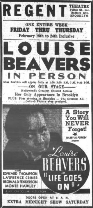 Newspaper ad for Louise Beavers in Life Goes On