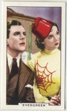 Barry MacKay and Jessie Matthews in color on this 1935 Gallaher Shots from Famous Films Tobacco Card