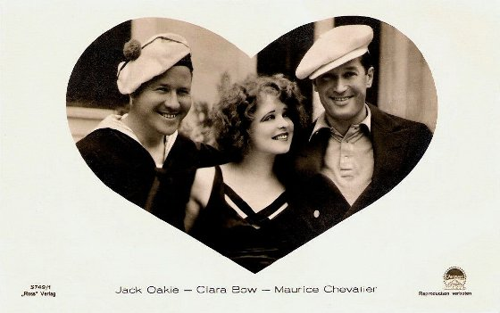 Jack Oakie Clara Bow and Maurice Chevalier Ross Verlag Postcard