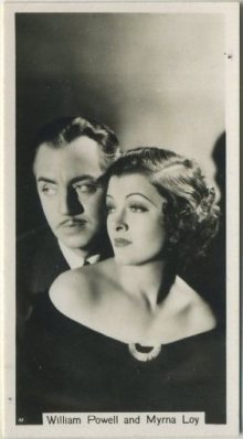 William Powell and Myrna Loy 1937 John Sinclair Tobacco Card