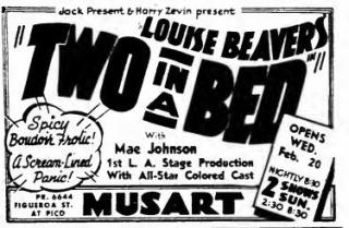 California Eagle ad for Louise Beavers in Two in a Bed