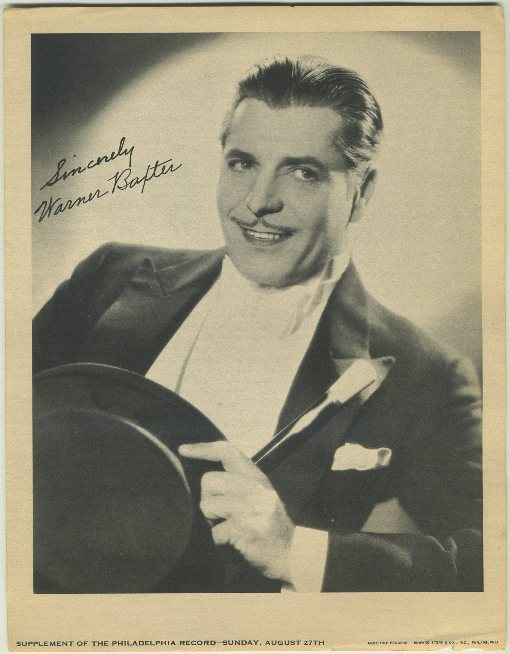 Warner Baxter Philadelphia Record Newspaper Supplement photo dated August 27 1933