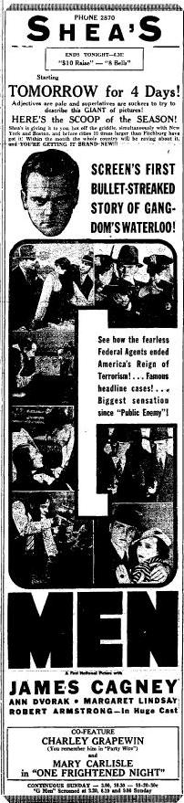 G Men ad from the May 11 1935 edition of the Fitchburg Sentinel, page 15