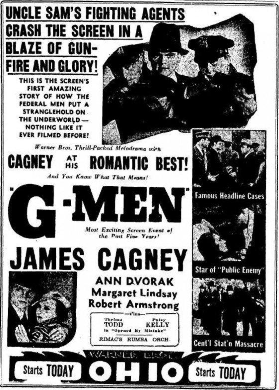G Men ad from the June 2 1935 edition of the Sandusky Register, page 2