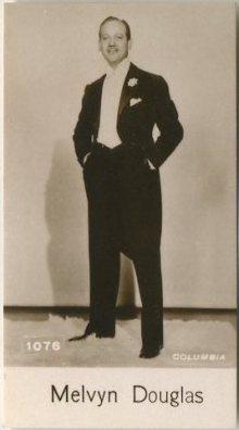 Melvyn Douglas 1940 De Beukelaer Trading Card