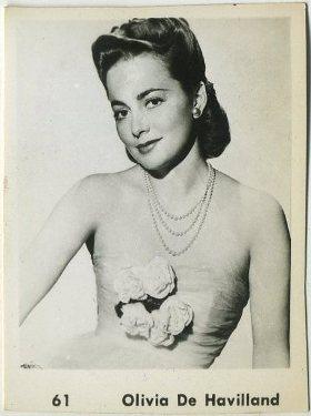 Olivia de Havilland circa 1950 Trading Card, anonymous issue
