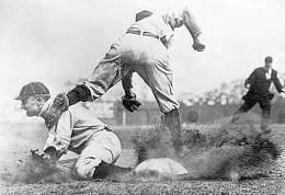 Ty Cobb, spikes high