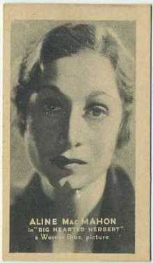 Aline MacMahon 1934 Golden Grain Tobacco Card