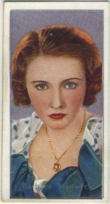 Barbara Stanwyck 1936 Carreras Film Stars Tobacco Card