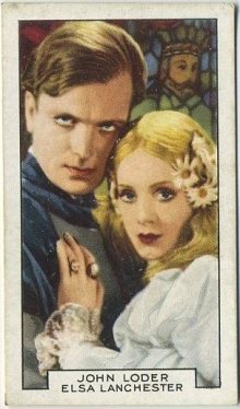 John Loder and Elsa Lanchester in The Private Life of Henry VIII on a 1935 Gallaher Film Partners Tobacco Card