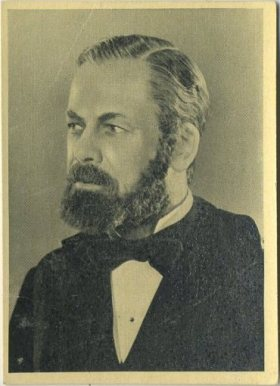 Paul Muni as Louis Pasteur on 1940 A & M Wix Cinema Cavalcade Tobacco Card