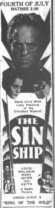 Original ad for The Sin Ship as it appeared in the Morning Herald of Gloversville, NY, July 3, 1931, page 14.