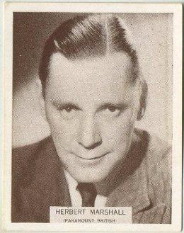 Herbert Marshall 1934 Wills Famous Film Stars Tobacco Card