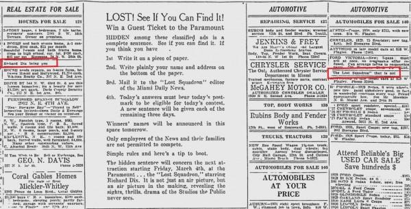 The Lost Squadron contest ad in the March 1 1932 edition of The Miami News