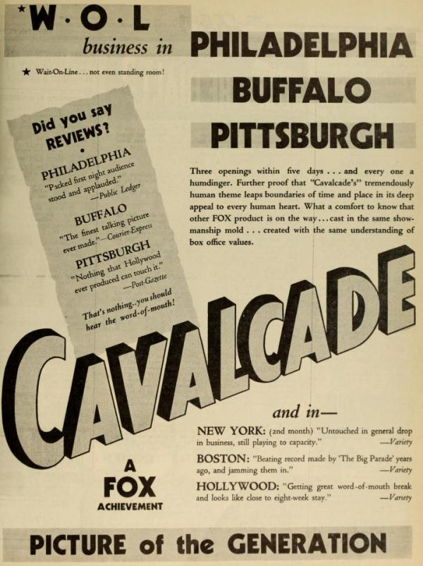 Film Daily ad for Cavalcade