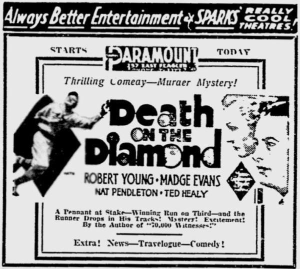 Death on the Diamond newspaper ad