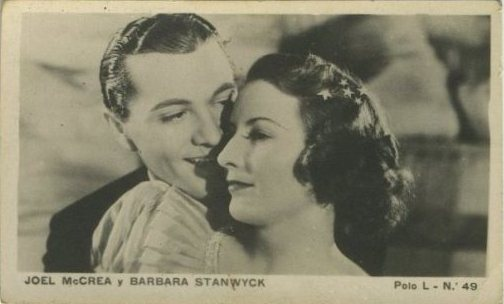 Joel McCrea and Barbara Stanwyck 1938 Polo L Tobacco Card from Chile