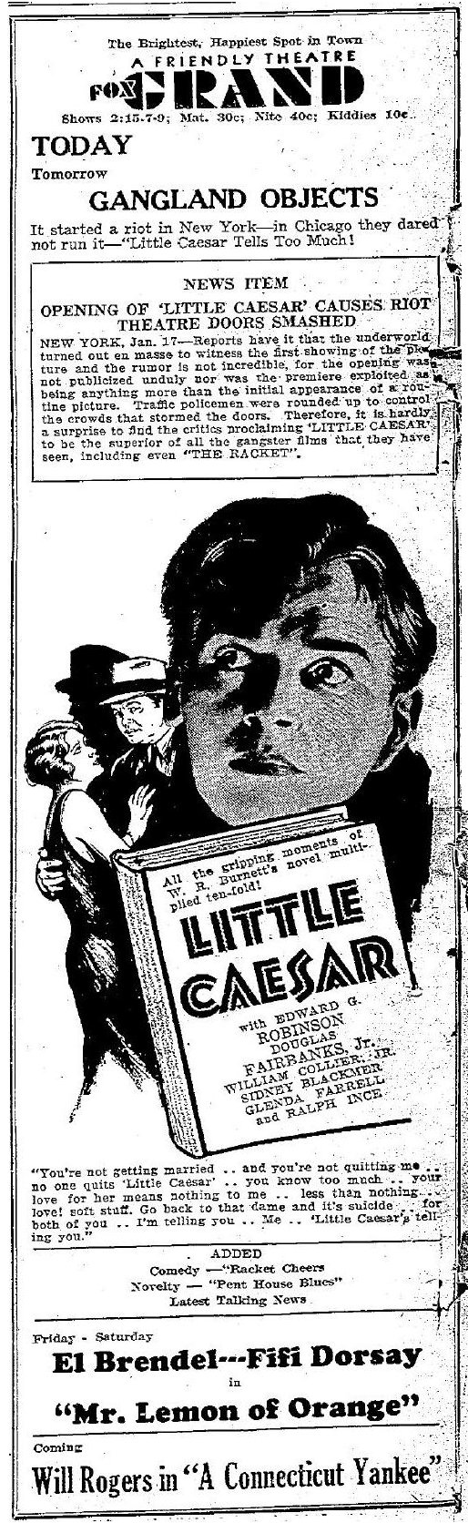 Little Caesar 1931 Newspaper Ad