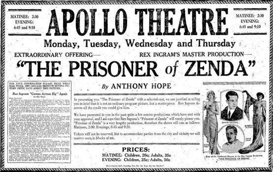 The Prisoner of Zenda 1922 newspaper ad
