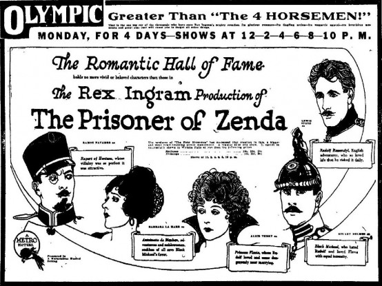 The Prisoner of Zenda 1922 newspaper ad