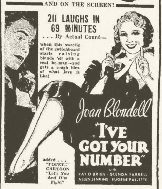 I've Got Your Number 1934 newspaper ad
