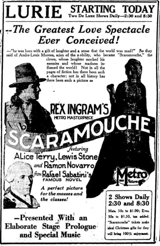 Scaramouche 1923 newspaper ad