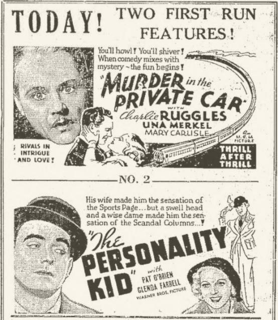 The Personality Kid 1934 newspaper ad