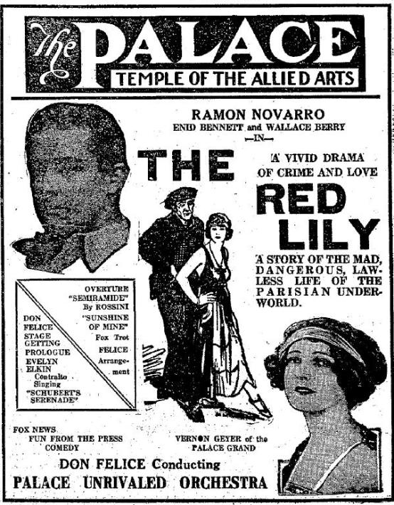 The Red Lily 1924 newspaper ad