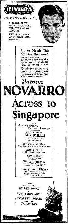 Across to Singapore 1928 newspaper ad