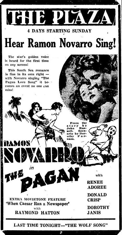 The Pagan 1929 newspaper ad