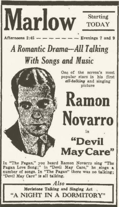 Devil May Care 1930 newspaper ad