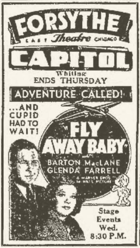 Fly Away Baby 1937 newspaper ad