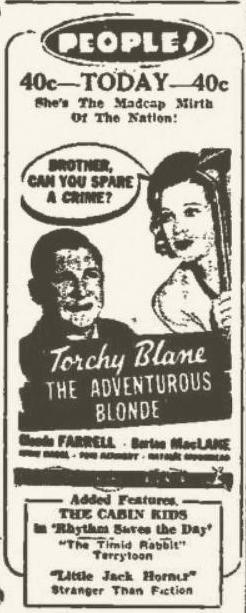 The Adventurous Blonde 1937 newspaper ad
