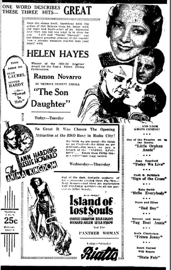 The Son Daughter 1933 newspaper ad