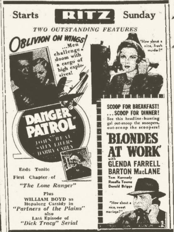 Blondes at Work 1938 newspaper ad