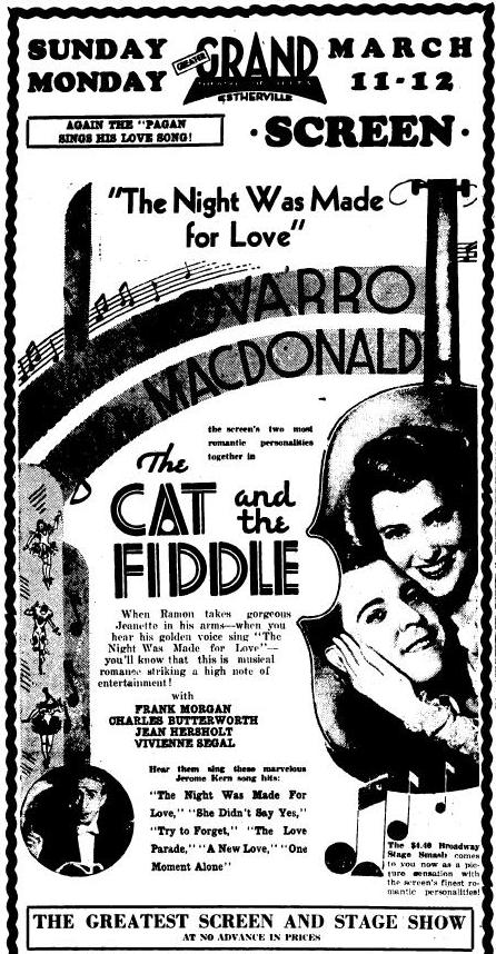 The Cat and the Fiddle 1934 newspaper ad