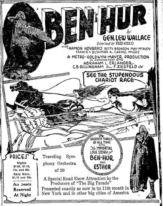 Ben Hur 1927 newspaper ad