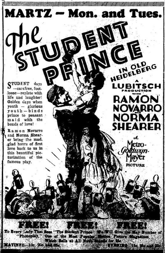 The Student Prince in Old Heidelberg 1928 newspaper ad